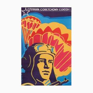 Affiche de Propagande sur la Politique Militaire en URSS Vintage, 1976