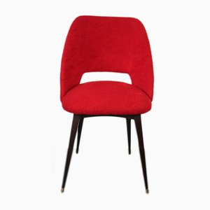 Mid-Century French Red Barrel Chair with Compass Feet, 1960s