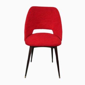 Silla Barrel francesa Mid-Century en rojo con patas compás, años 60