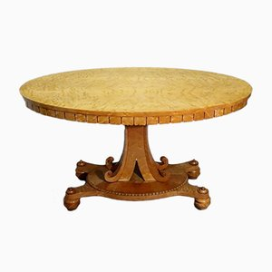 Centre de Table Ovale en Érable Moucheté de Gillows, 1820s