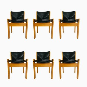 Italian Leather and Wood Dining Chairs from IBISCO, 1970s, Set of 6