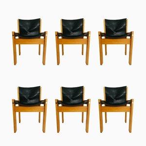 Italienische Esszimmerstühle mit Sitz aus Leder & Holzgestell von IBISCO, 1970er, 6er Set