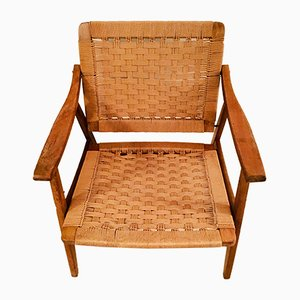 Mid-Century French Wood and Rope Lounge Chair, 1960s