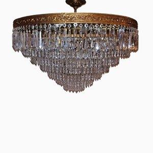 Large Italian Bronze & Crystal 13-Light Flush Mount Chandelier, 1950s