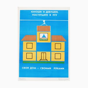 Affiche de Propagande Communiste sur la Construction de Maisons Vintage, 1989