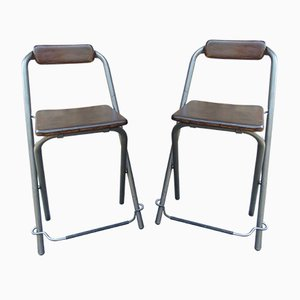 Industrial Beech and Iron Side Chairs from Ikea, 1970s, Set of 2