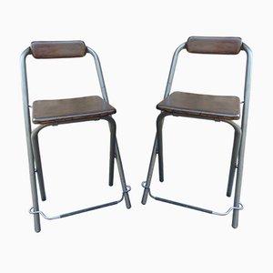 Industrielle Beistellstühle aus Buche & Eisen von Ikea, 1970er, 2er Set