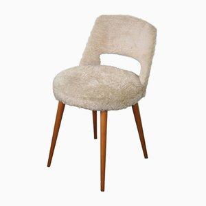 Weißer französischer Mid-Century Stuhl mit Kompassfüßen, 1960er
