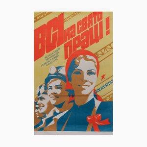 Vintage Communist Women Workers Propaganda Poster, 1984