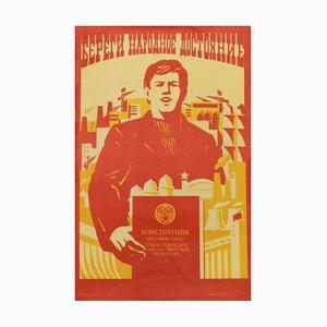 Sowjetisches Vintage Arbeiter Propagandaposter, 1981