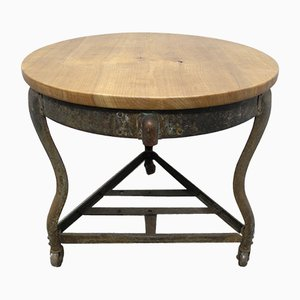 Vintage Industrial Cherry Side Table, 1930s