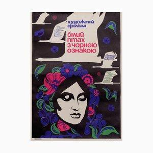Póster soviético vintage de la película Swan Girl, años 70