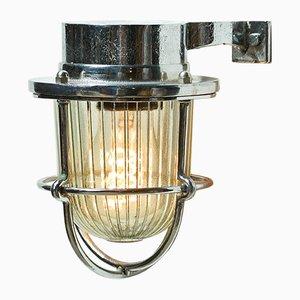 Wandlampe aus verchromtem Messing & Streifenglas