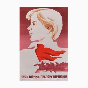 Póster de propaganda comunista vintage con niño, 1985