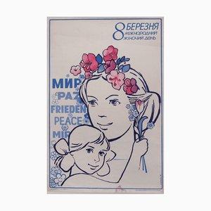 Póster de propaganda comunista con madre e hija, 1986