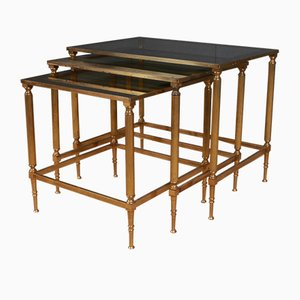 French Brass & Glass Nesting Tables, 1950s