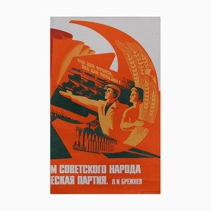 Póster de propaganda vintage de los trabajadores de la energía atómica, 1979