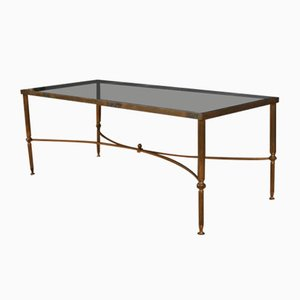 Table Basse en Laiton et Verre Fumé, France, 1950s