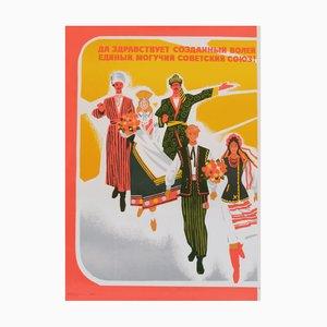 Póster de propaganda soviético vintage con trabajadores, 1979