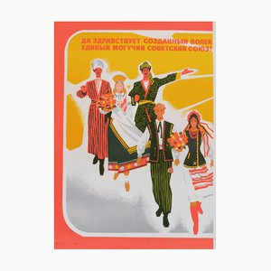 Sowjetisches Vintage Gewerkschaftsarbeiter Propagandaposter, 1979