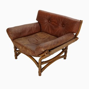 Vintage Bent Bamboo & Brown Leather Lounge Chair, 1970s