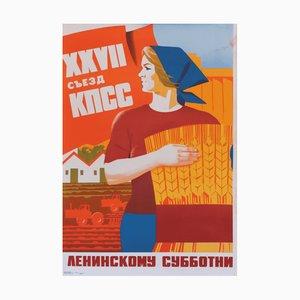 Affiche de Propagande Communiste sur le Travail du Samedi, 1986