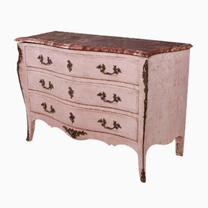 Commode Rococo Antique en Bois et Marbre, France