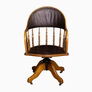 Silla giratoria de escritorio eduardiana antigua de roble