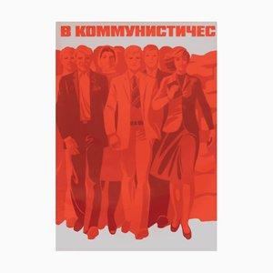 Póster de propaganda comunista con trabajadores, años 80