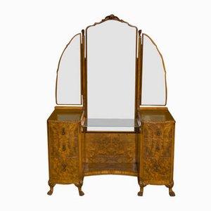 Toeletta vintage in noce con specchio di Berick, anni '20