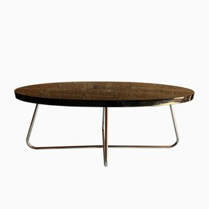 Table Basse Ovale et Tubulaire Vintage en Aluminium, France