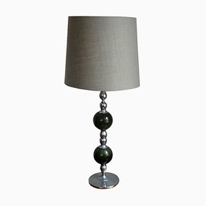 Vintage Fabric and Nickel Table Lamp, 1970s