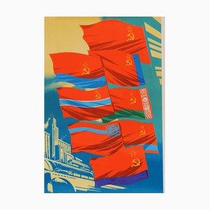 Sowjetisches Vintage Flaggen Poster, 1979