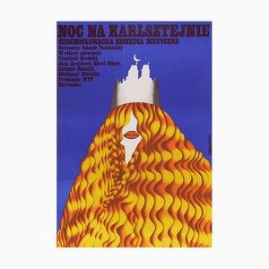 Póster polaco vintage de la película Girl Who Likes To Dream, 1974