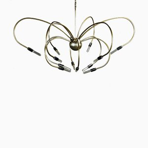 Vintage Brass 12-Arm Chandelier, 1970s