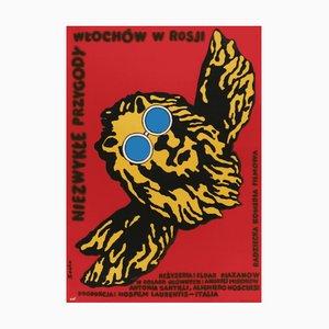 Poster vintage del film Lion, Polonia, anni '70