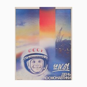 Vintage USSR Cosmonaut's Day Poster, 1980s