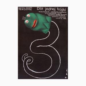 Póster polaco vintage de la película Za Edna Troyka de Romuald Socha, 1984