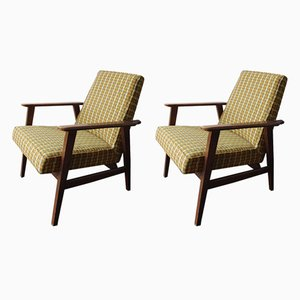 Scandinavian Modern Fabric and Wood Armchairs, 1970s, Set of 2