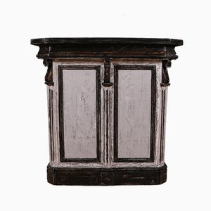 Antike französische Bistrotheke aus Holz & Zink