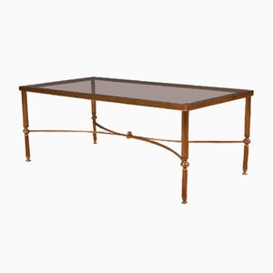 Vintage French Brass and Glass Coffee Table, 1920s