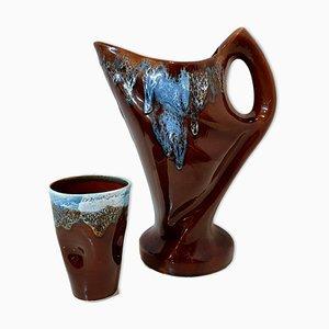 Juego de jarra y vaso vintage