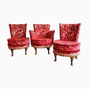 Chaises d'Appoint Mid-Century, Set de 3