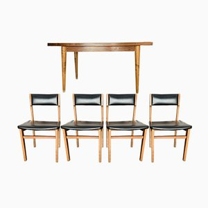 Mid-Century Set aus Esstisch & Stühlen aus Eiche & Palisander, 1950er