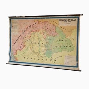 Ungarische Mid-Century Landkarte aus Leinwand, 1964