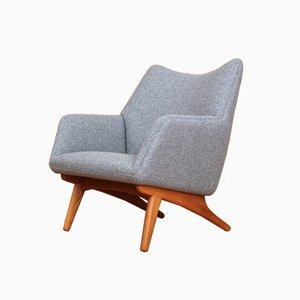 Dänischer Sessel mit Gestell aus Eiche von Illum Wikkelsø für A/S Mikael Laursen, 1950er