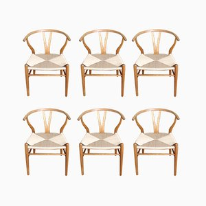 Danish Oak CH24 Wishbone Chairs by Hans J. Wegner for Carl Hansen & Søn, 1960s, Set of 6