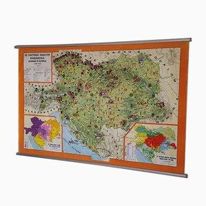 Mapa húngaro Mid-Century de lona, 1964