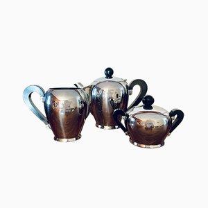 Italienisches Bombé Kaffeeservice aus Bakelit & Stahl von Carlo Alessi für AFRA, 1940er