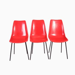 Industrial Fiberglass and Steel Dining Chairs by Miroslav Navratil for Vertex, 1960s, Set of 3